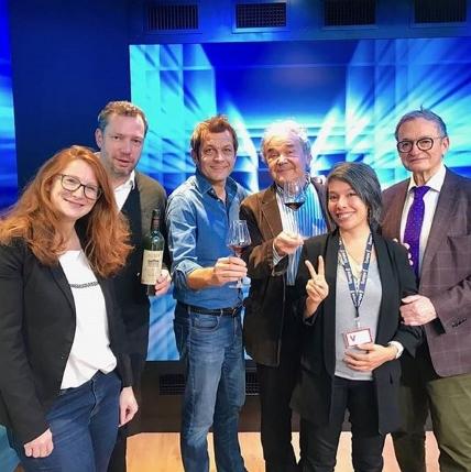 Pierre Perret entouré de Laurent Mariotte Anne-Laure Pham et Olivier Poels
