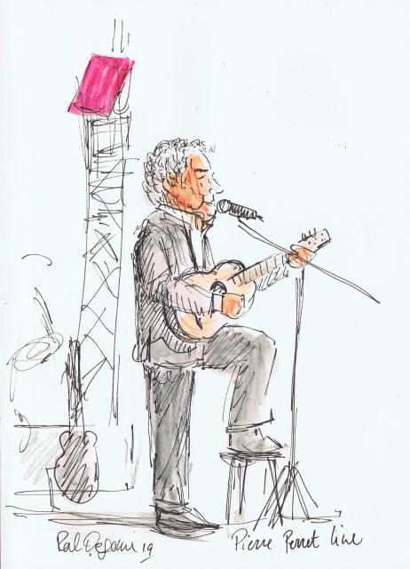 Pierre Perret sur scène à Genève, dessin de Pal Degome